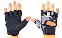 Перчатки для фитнеca TKO (нейлон, открытые пальцы, хаки серый-красный)