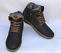 Мужские зимние нубуковык ботинки, MISHEL, черные, высокий шнурок
