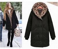 Куртка-пальто с леопардовой вставкой на капюшоне