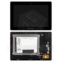 Дисплей для планшета Lenovo IdeaPad S6000, черный, с cенсорным экраном, в рамке, (версия 3G), #BP101WX1-206/MC