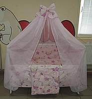 Детское постельное белье в кроватку розовое Тедди в гамаке Gold 9 в 1