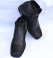 Мужские зимние кожаные ботинки, черные, на две змейки