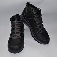 Мужские зимние ботинки с еврокожи, черные, прошитые с нашивкой ECOO