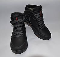 Мужские зимние ботинки с еврокожи, черные, прошитые, шнурок