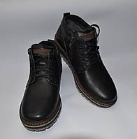 Мужские зимние кожаные ботинки, MAXUS, черные, прошитые, шнурок