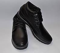 Мужские зимние кожаные ботинки, Van Kristi, черные, шнурок