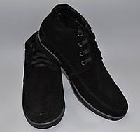 Мужские зимние замшевые ботинки, Van Kristi, черные, шнурок