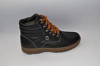 Мужские зимние кожаные ботинки, KONORS, черные, рыжий шнурок, прошитые