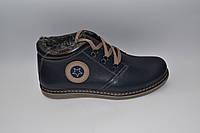 Мужские зимние кожаные ботинки, KONORS, синие, шнурок