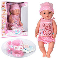 Детская интерактивная кукла Бейби Борн девочка в летнем костюмчике (Baby Born BL 009 D)