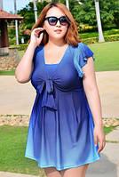 Купальник платье слитный большой размер 3-4xl градиент голубой
