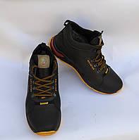 Мужские зимние кожаные ботинки, SPLINTER, черные с черно-желтой подошвой