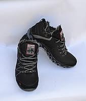 Мужские зимние кожаные ботинки, SPLINTER, черные, низкие, серая вставка