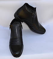 Мужские модельные зимние кожаные ботинки, KARAT, черные, на две змейки