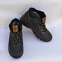 Мужские зимние нубуковык ботинки, Columbia, синие, сбоку выдавка в виде зигзага