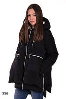 Женская черная куртка с удлиненной спинкой плащевка мемори на синтепоне размеры 42 44 46