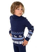 Детский теплый свитер для мальчика, синий 116 размер