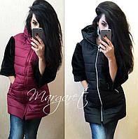 Куртка женская теплая с меховыми рукавами и капюшоном 2 цвета Gp34