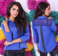 Рубашка молодежная с удлиненной спинкой и молнией по всей длине костюмный креп + гипюр размеры 42,44,46