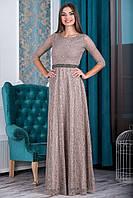 Бежевое гипюровое платье с широкой юбкой