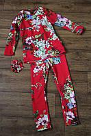 Детский костюм двойка в цветочек платье туника прямого кроя и лосины теплый трикотаж