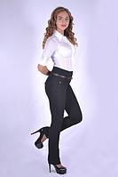 Оригинальные офисные женские брюки с завышенной талией