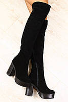 Зимние ботфорты на устойчивом каблуке, замша
