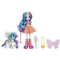 Кукла пони Селестия  с фигуркой пони My Little Pony Equestria girls