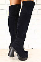 Синие зимние ботфорты на устойчивом каблуке, замша