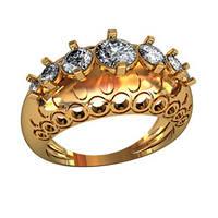 Редкое женское золотое кольцо 585* пробы с камнями циркония