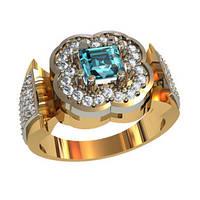 Блистательное женское золотое кольцо 585* пробы с камнями циркония