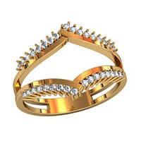 Интересное женское золотое колечко 585* пробы c Фианитами