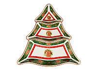 Менажница керамическая зеленая Рождественская коллекция 24 см 586-217