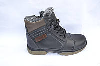 Подростковые зимние кожаные ботинки, черные, сверху коричневые вставки, шнурок
