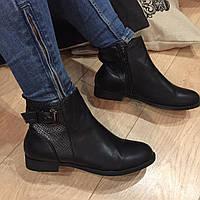 Крутые демисезонные ботиночки с питоновыми вставками, полусапожки женские весенние