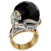 Массивное золотое кольцо 585* из красного и белого золота с крупным камнем