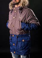 Мужская зимняя парка PITT Blue/Brown