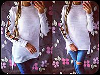 Женский модный свитер с шерстяной ниткой и шнуровкой на рукавах (4 цвета)