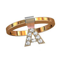 """Элегантное женское золотое кольцо 585* пробы с буквой """"А"""""""