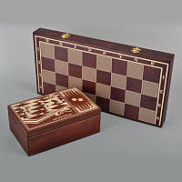 Шахматный набор 3 в 1 из дерева (шашки, шахматы и нарды)