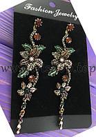 Длинные серьги с золотыми цветами и разноцветными камнями