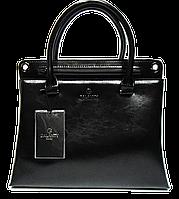 Практичная женская сумка из натуральной кожи черного цвета GALANTY