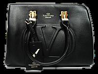 Женская стильная сумка из кожзама черного цвета VALENTINO