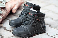 Ботинки спортивные кроссовки зимние мужские черные c балоновой вставкой Львов