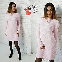 Платье вязаное соты теплое мини турецкая пряжа разные цвета SMf742