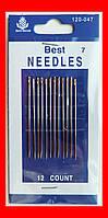 Иглы для шитья вручную №7 короткое ушко, набор 12 шт