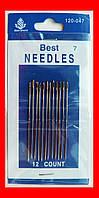 Иглы для шитья вручную №7 длинное ушко, набор 12 шт
