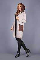 Вязаное пальто из теплой вязки с капюшоном лён-бронза