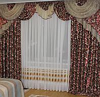 Комплект ламбрекен + шторы в зал, спальню Бордовый 243