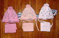 Детские теплые комплекты шапка+шарф длядевочки Ромашка 40/42 рр